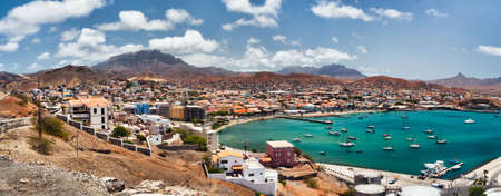dryness: Mindelo is a port town on the Cape Verde in the northern part of the island of São Vicente  Mindelo is also the seat of the parish of Nossa Senhora da Luz, and this island Stock Photo