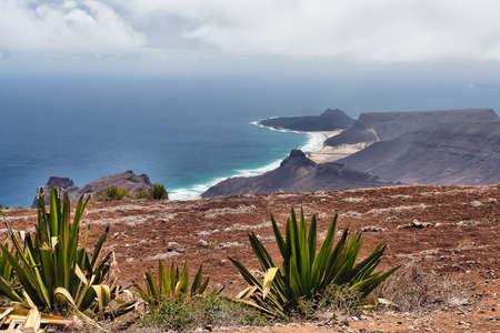 """Cape Verde from Monte Verde with Calhau in the background – Sao Vicente  The mountain """"Monte Verde"""" isn't green at all any more after many years of draught  Stock Photo"""
