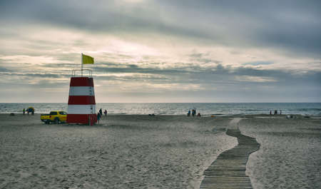 Lifeguard station on a Danish beach photo