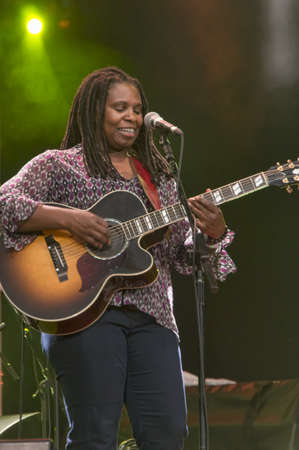 foster: CAMBRIDGE UK  JULY 28 2012: Ruthie Foster, Blues musician, performing at the Cambridge Folk Festival, UK