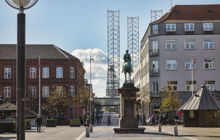 Esbjerg Denmark  City center with oil rig in harbor near by