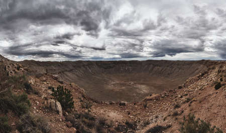 Panoramic view of Meteor Crater located in Winslow Arizona