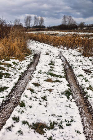 Frosty roadtrack in winter on Funen, Denmark photo