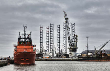 Offshore harbor in Esbjerg, Denmark Stock Photo - 17060678