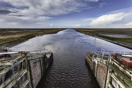 Hojer vidaa lock gate in the Danish wadden sea Stock Photo - 17757054