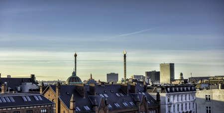 Panorama of Copenhagen roof tops, Denmark photo