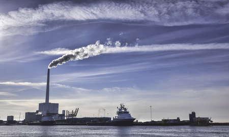 Panorama of Esbjerg oil harbor, Denmark photo