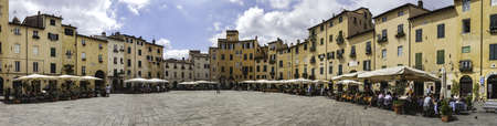 Amphitheater square in Lucca  Tuscany, Italy photo
