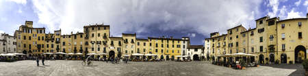 lucca: Amphitheater square in Lucca  Tuscany, Italy Stock Photo