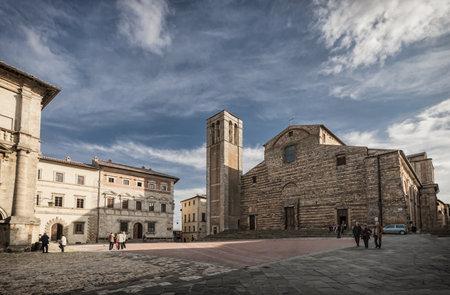 montepulciano: Piazza Grande at the top of Montepulciano, Tuscany, Italy Editorial