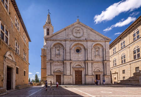 Pienza square of the cathedral Tuscany, Italy