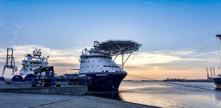 Oil Supply vessels in Esbjerg harbor, Denmark Standard-Bild
