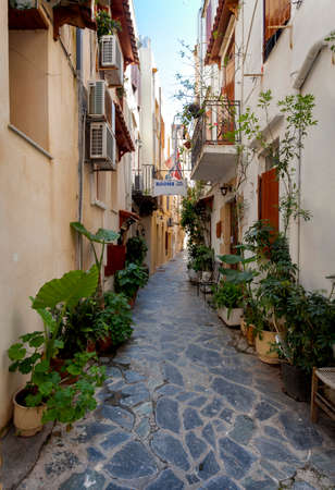 Narrow streets in Chania on Crete, Greece