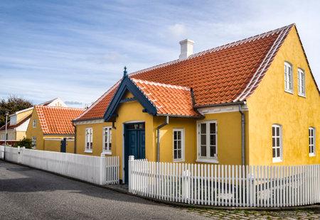 jutland: Small characteristic yellow house in the center of Skagen in jutland