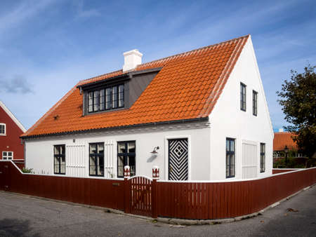 jutland: Small characteristic white house in the center of Skagen in jutland Editorial