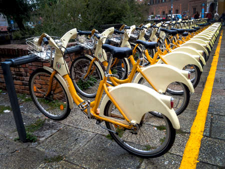 Public city bikes in Milano, Italy