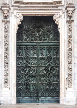 Door detail from the Duomo in  Milano, Italy photo