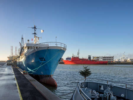 Supply ships in Esbjerg oil harbor, Denmark