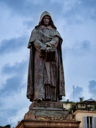 inquisition: Giordano Bruno statue at the Campo Dei Fiori square in Rome, Italy Stock Photo