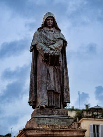 Giordano Bruno statue at the Campo Dei Fiori square in Rome, Italy Standard-Bild