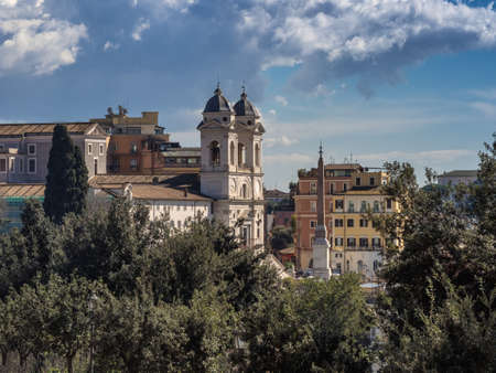 Trinita dei Monti church on top of the Spanish steps in Rome, Italy photo