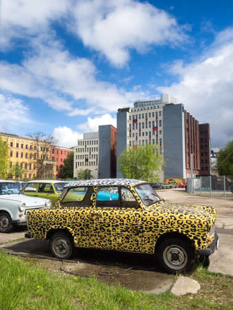Trabant Trabi retro vehicles parking in Berlin, Germany