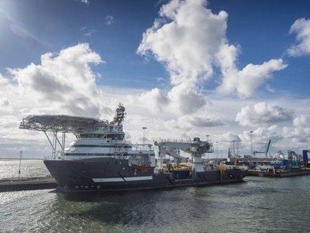 esbjerg: Multi purpose ship in Esbjerg harbor, Denmark