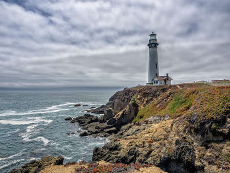 1: California Pigeon point Lighthouse in Cabrillo Highway coastal highway State Route 1 Stock Photo