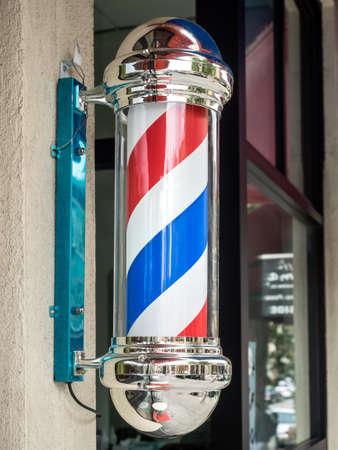 barbershop: Vintage barber shop sign with rotating stripes