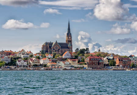 Lysekil historic church viewed from the seaside, Sweden Stock Photo