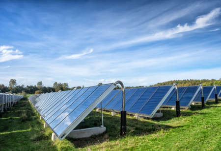 Solar water heating system in great scale Фото со стока