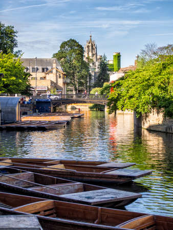 punting: Punts lined up on river in  Cambridge England