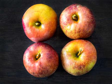 belle: Four red apples, Belle de Boskoop on a dark background