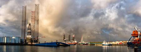 Panorama of Oil rig in Esbjerg harbor, Denmark photo