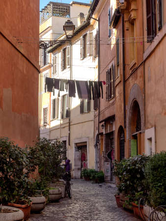 laundry line: Laundry in Trastevere district of Rome, Italy