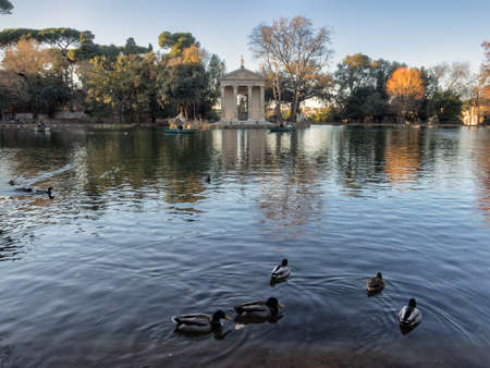 neo classical: Temple of Esculapio, located at the beautiful park of villa borghese, Rome, Italy.