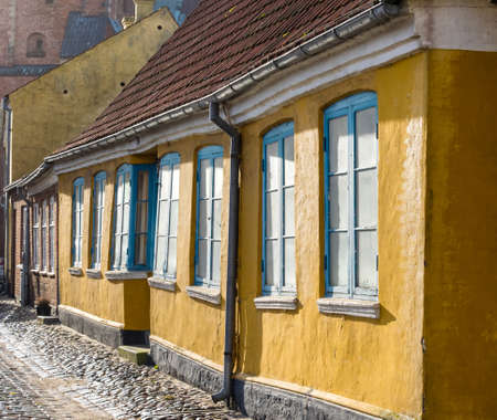 half timbered: Homes on cobbled streets in Ribe in Denmark