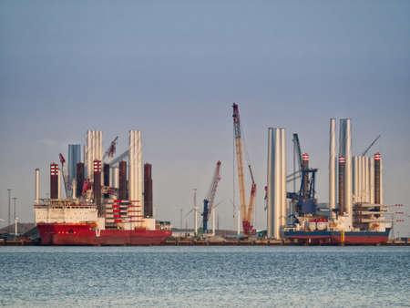 esbjerg: Wind turbine offshore vessels in Esbjerg harbor, Denmark