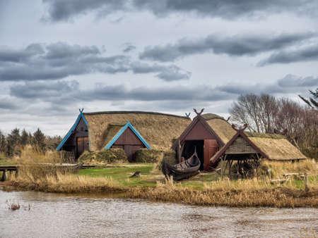 Viking harbor with longboats in Bork, Denmark