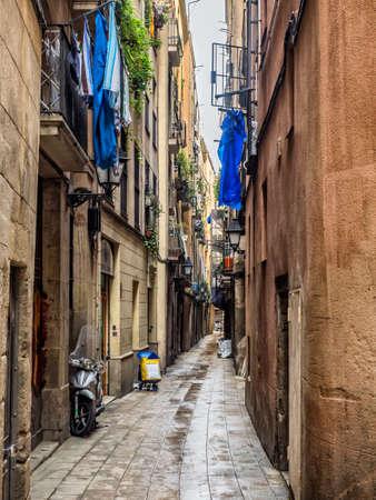 quarter: Small street in Barcelona Gothic quarter, Spain Stock Photo