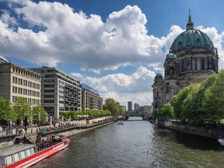 or spree: Berlin cathedral dom at river Spree, Germany Editorial