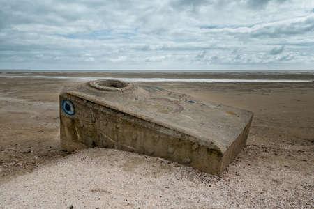 esbjerg: Old bunker on the beach in Sonderho on Fano in Denmark