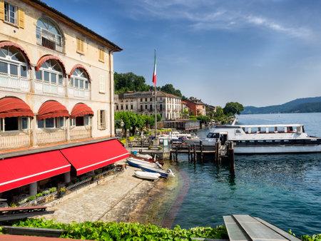 orta: Restaurant on the bank in Orta, Italian Lake District. Editorial