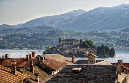 orta: View of the island of San Giulio in Lake Orta in Italy
