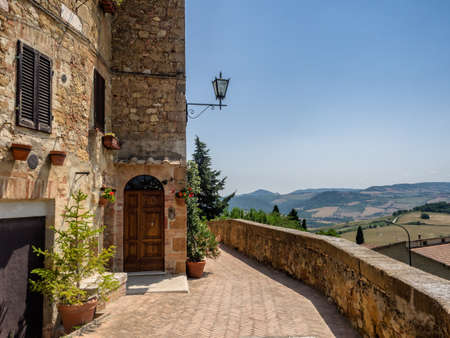 The walls of Pienza in Tuscany, Italy