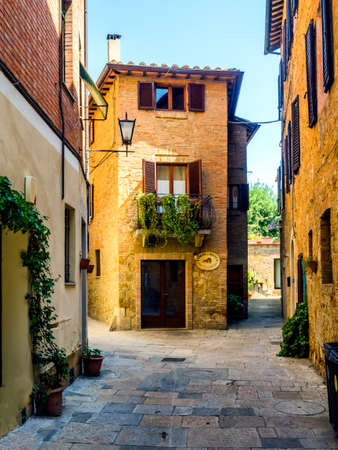 pienza: Streets of Pienza in Tuscany, Italy