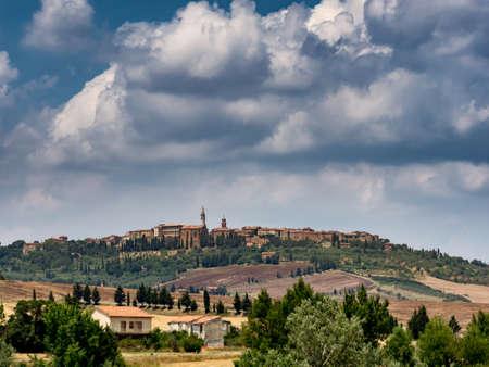 pienza: Panorama of Pienza in Tuscany, Italy