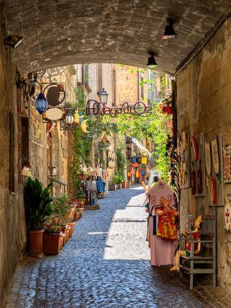italy street: Small streets in Orvieto in Umbria, Italy