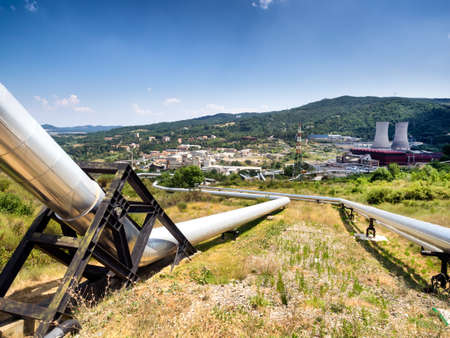 geothermal: Geothermal power plant in Larderello Tuscany - Italy