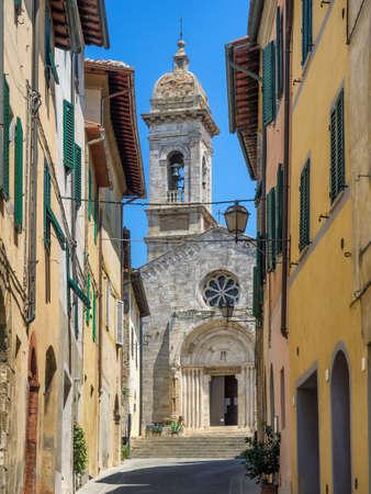 san quirico: Collegiata dei Santi Quirico e Giulitta in San Quirico dOrcia  in Tuscany, Italy Stock Photo